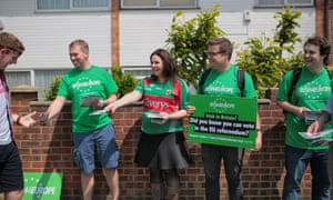 Young Irish4Europe campaigners hand out leaflets at a Gaelic football match in west London in May.