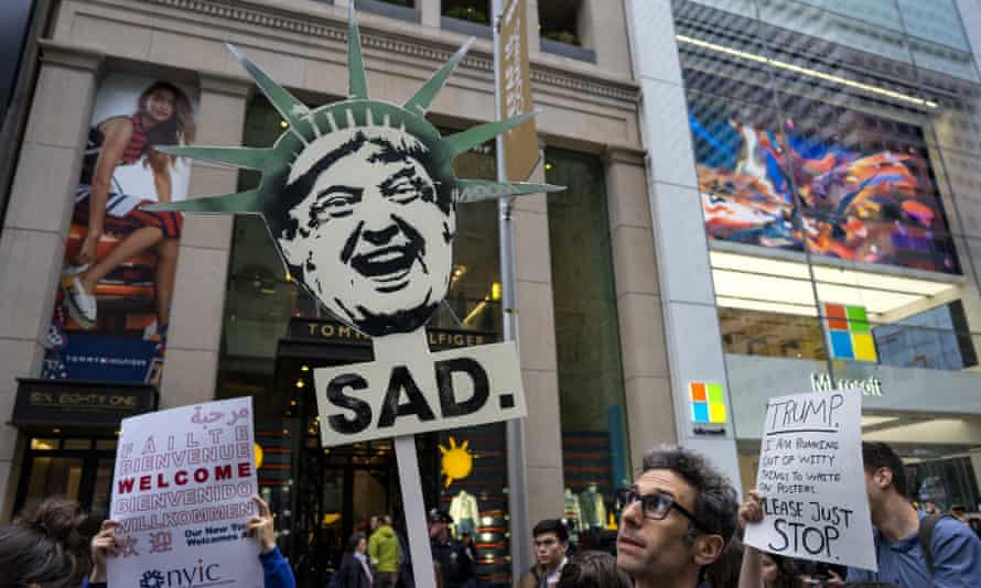 Protesters gather on Thursday on 5th Avenue, near Trump Tower.