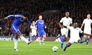 Willian slams home Chelsea's second goal.