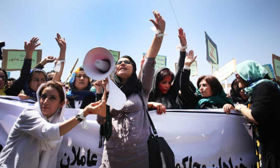 A demonstration to demand justice for Farkhunda in Kabul on 27 April. Demonstrators chanted: 'We all are Farkhunda! We want justice.'
