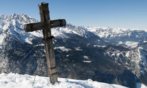 A cross on the summit of Jenner mountain in Berchtesgaden, Germany.