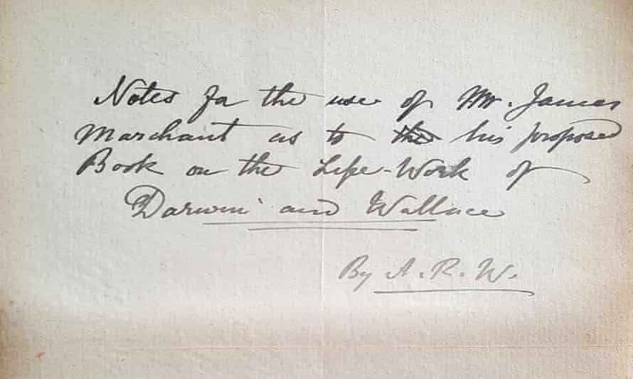 Alfred Russel Wallace's manuscript notes to James Marchant