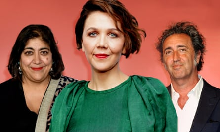 From left; director Gurinder Chadha, Maggie Gyllenhaal and Paolo Sorrentino