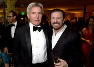 Harrison Ford and Ricky Gervais attend HBO's Official Golden Globe Awards After Party