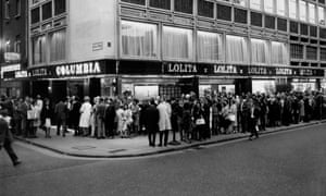 Queues around the Curzon Soho building, then the Columbia cinema, for Stanley Kubrick's Lolita in 1962.