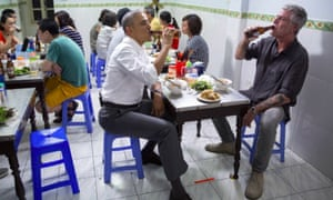 Barack Obama and Anthony Bourdain eating noodles in Vietnam.