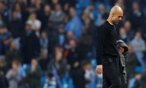Manchester City manager Pep Guardiola reacts after the match.
