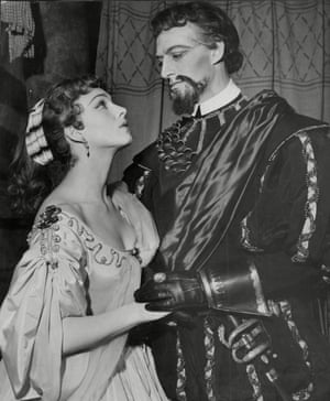 Barbara Jefford in costume as Desdemona with Basil Hoskins as Lodovico for an RSC production of Othello, 1954