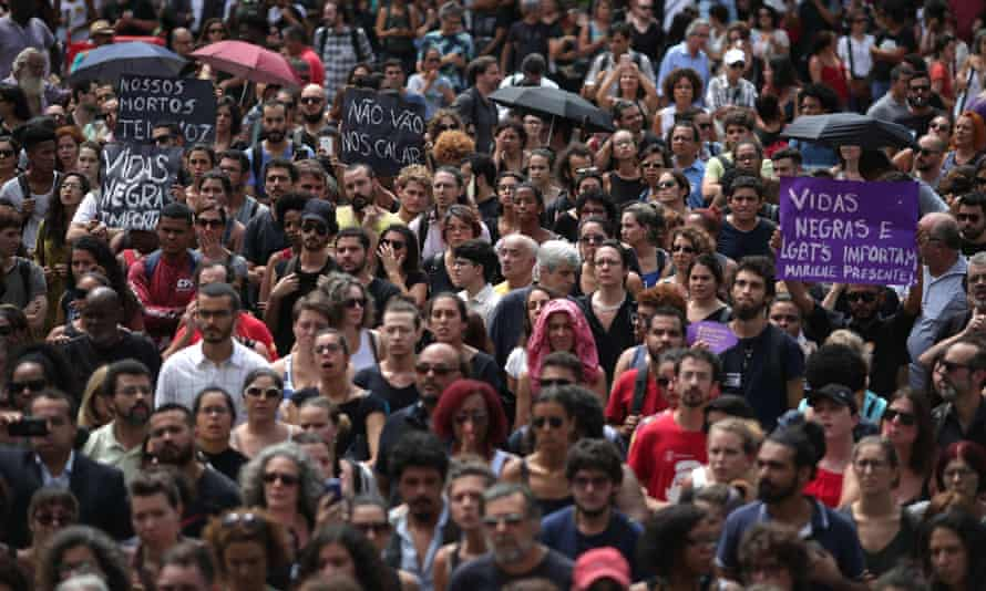 Hundreds of people attend the funeral of Marielle Franco, a popular Rio city councillor, who was shot dead in the center of Rio.