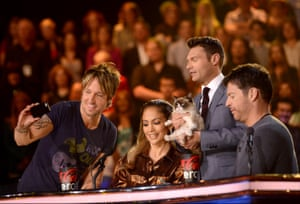 Keith Urban, Jennifer Lopez, Grumpy Cat, Ryan Seacrest and Harry Connick, Jr at American Idol XIII in Hollywood, California, in April 2014