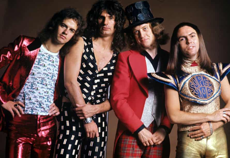Slade in 1973 with Noddy Holder (second from right), Dave Hill, Jimmy Lea and Don Powell.