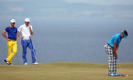 England's Ian Poulter plays a shot during the 2013 Open at Muirfield.
