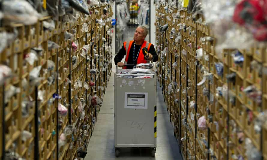 An Amazon warehouse in Swansea. Analysts are forecasting quarterly revenues of almost £60bn.