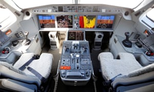 The cockpit of a Bombardier C-Series aircraft.