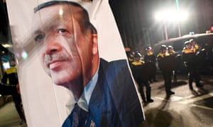 A large image of Turkish President Recep Tayyip Erdogan placed outside the Turkish consulate during protests in Rotterdam, Netherlands.