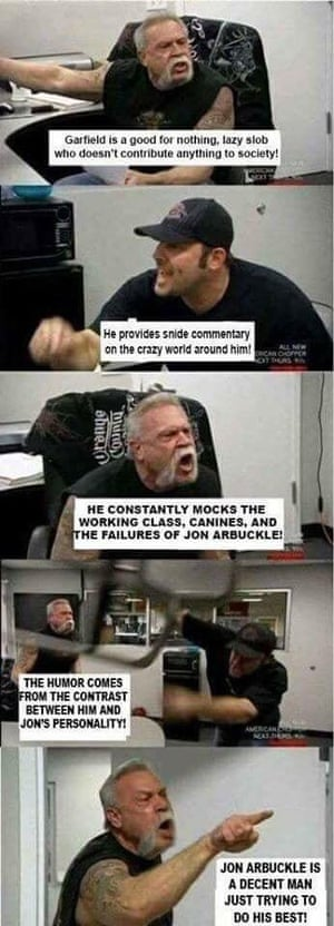 The American Chopper meme showing a debate about Garfield