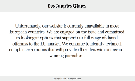 EU-based visitors to the Los Angeles Times website are being redirected to a page that looks like this