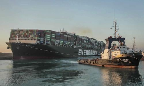 Giant ship blocking Suez canal partially refloated | Egypt | The Guardian