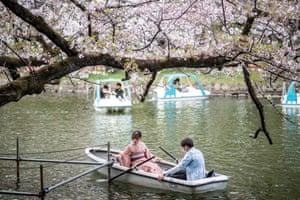 Visitos in Inokashira Park in Tokyo.