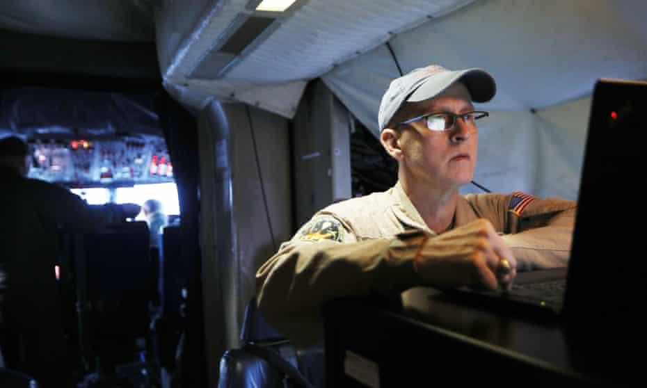 John Sonntag on board Nasa's Operation IceBridge research aircraft at Thule airbase, Greenland.