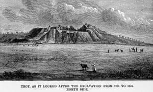 A depiction of archaeologist Schliemann's devastating impact on the historic Hisarlik site.