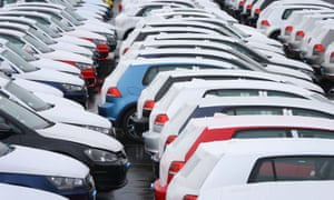 New German cars at a compound in Sheerness, Kent. Sales of UK-built vehicles were the strongest for five years, with Vauxhall Astra, Nissan Qashqai and Mini among in the top ten10 sellers.