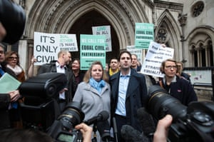 London, England Charles Keidan and Rebecca Steinfeld address the media outside the Royal Courts of Justice after they lost their fight to enter a civil partnership