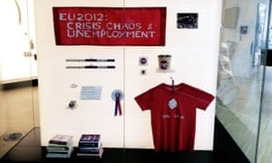 An anti-EU protest banner and Vote Leave T-shirt.