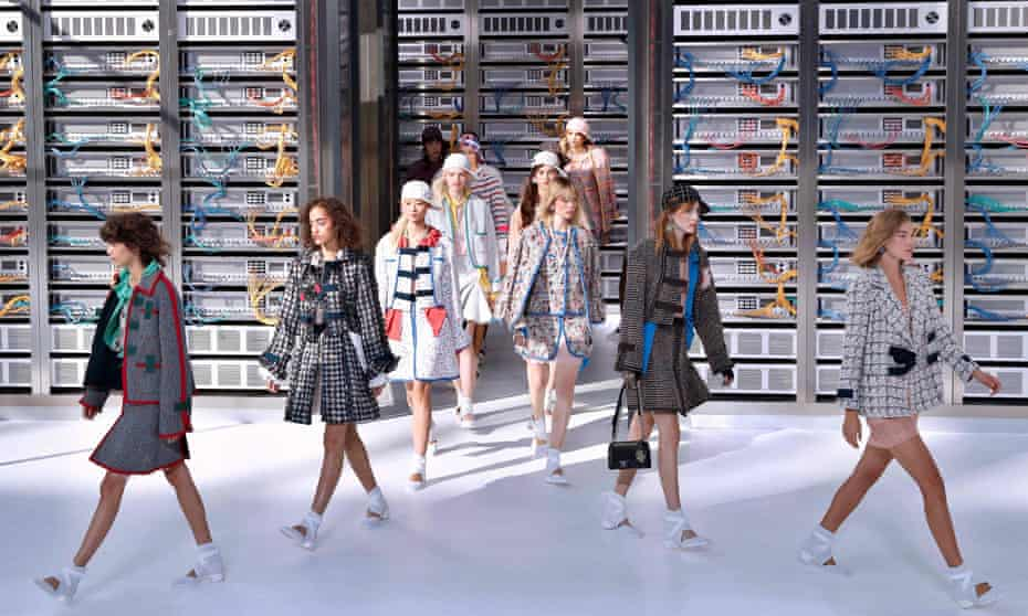 Models present creations for Chanel during the spring/summer 2017 catwalk show
