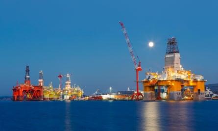 Oil platforms under maintenance near Bergen, Norway