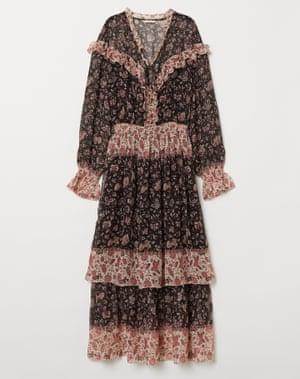 H&M V-neck frilled dress .