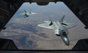 Two US F-22s flying above Syria in support of Operation Inherent Resolve earlier this month.