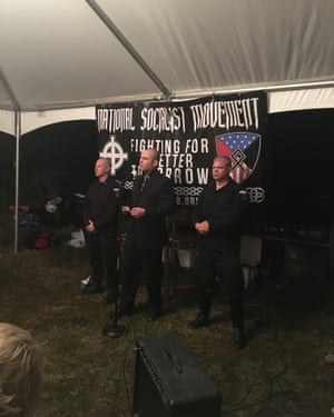 Jeff Schoep, the leader of the National Socialist Movement, speaks on Friday night.
