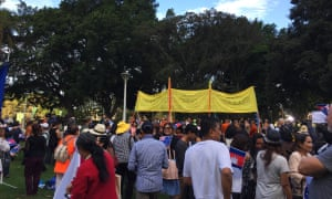Cambodian-Australians protest in Sydney against the Australian visit of the Cambodian prime minister, Hun Sen, for Asean on Friday.