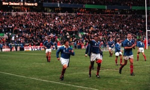 The French players take a lap of honour after their victory.