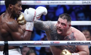 A bloodied Andy Ruiz Jr finds the chin of Anthony Joshua.
