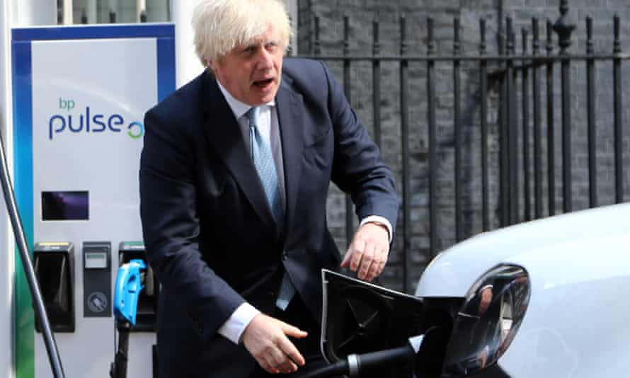 UK prime minister Boris Johnson during a photocall for electric cars at Downing Street.