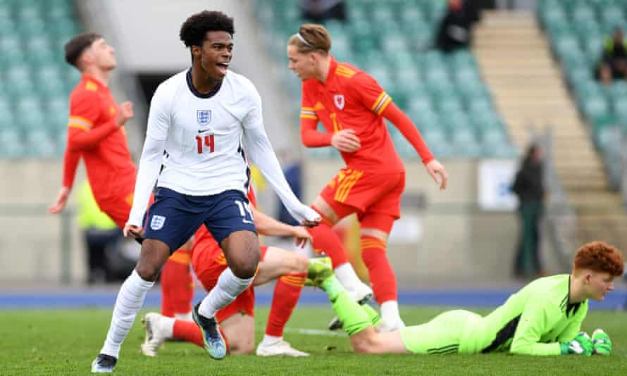 Carney Chukwuemeka celebrates after scoring for England Under-18s against Wales last month.