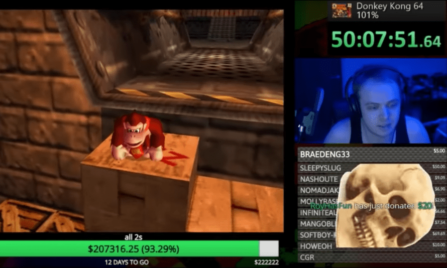 Harry Brewis, who goes by Hbomberguy, playing Donkey Kong 64