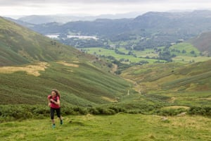 Ascent out of Grasmere. Coast to Coast fell running, Lake District with Coast To Coast Packhorse