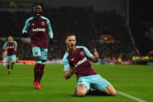 West Ham's Marko Arnautovic celebrates after scoring the second goal in the Hammers' 3-0 victory over Stoke City at the Bet365 Stadium. Arnautovic is the third player to score against Stoke in the Premier League having previously played for them, a feat also achieved by Wilfried Bony and Seyi Olofinjana. This was Stoke City's 50th home defeat in the Premier League.