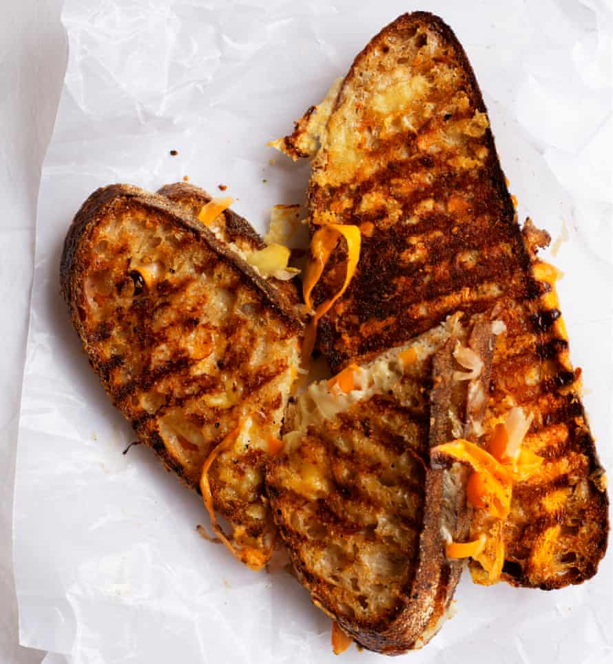 Grilled cheese and pickle mustard-butter sandwiches