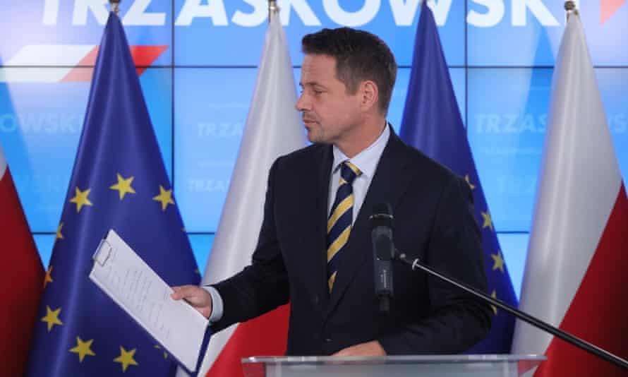 Rafał Trzaskowski at a press conference in Warsaw