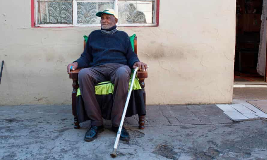 Fredie Blom sat in chair outside his house