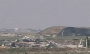 A still image taken from a video broadcast on Syrian state television shows the airbase that was hit by US strike near the city of Homs.