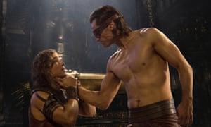 Brenton Thwaites and Nikolaj Coster Waldau as Bek and Horus in Gods of Egypt.
