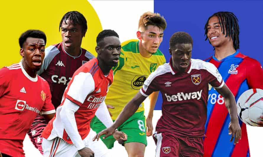 From left to right: Anthony Elanga (Manchester United), Carney Chukwuemeka (Aston Villa), Folarin Balogun (Arsenal), Billy Gilmour (Norwich), Ademipo Odubeko (West Ham), Michael Olise (Crystal Palace).