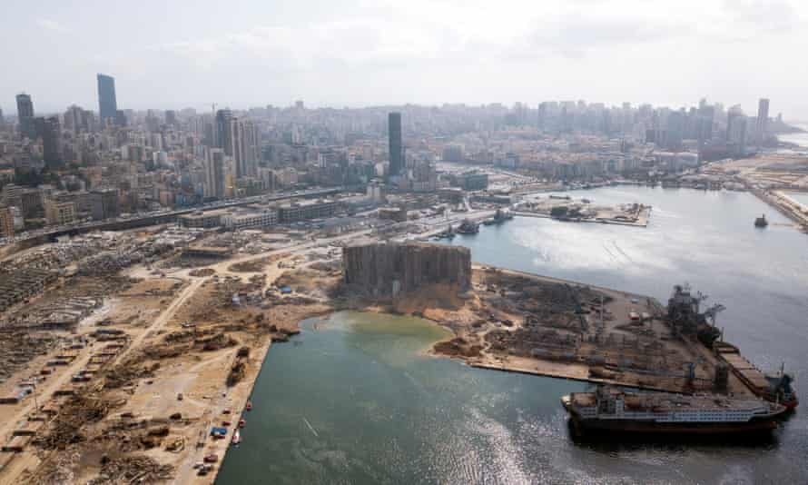 An aerial view of Beirut's port in the aftermath of the explosion.