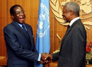 2003: Robert Mugabe shakes hands with Kofi Annan, UN secretary general, at the UN headquarters in New York