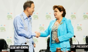 Secretary-General Ban Ki-moon (left) greets Patricia Espinosa Cantellano, Mexican Minister for Foreign Affairs and President of the UN's Climate Change Conference (COP16), at the opening of COP16 in Cancun, Mexico.
